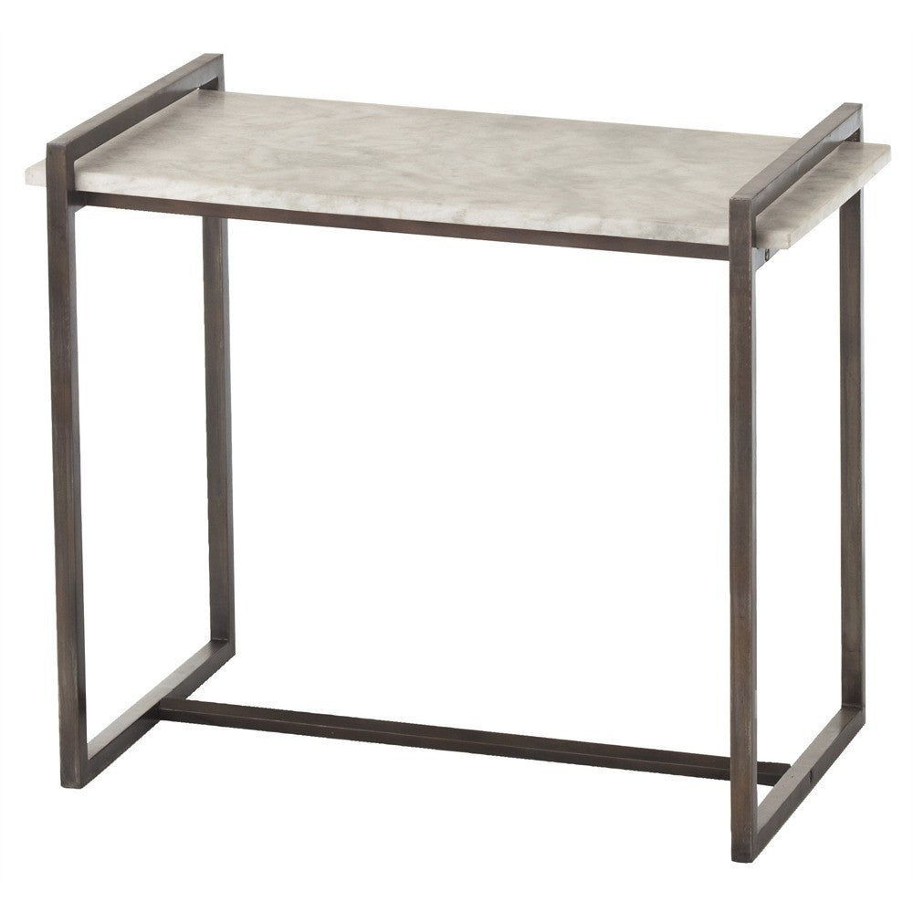 Arteriors home hollis side table natural gray iron finish white marble top 6392