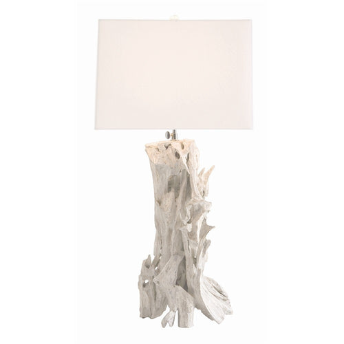 arteriors home bodega distressed white driftwood lamp natural material white shade