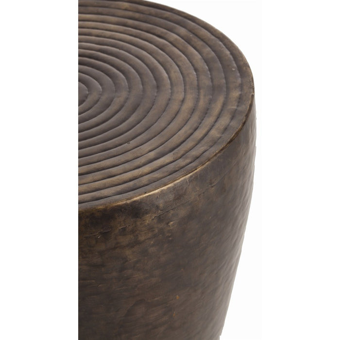 arteriors home clint side table drum side table round bronze detail close up