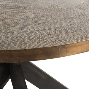 arteriors home halton dining table antique brass deep expresso detail