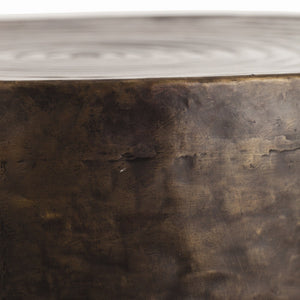 arteriors home clint end table round coffee table modern detail close up bronze side end table
