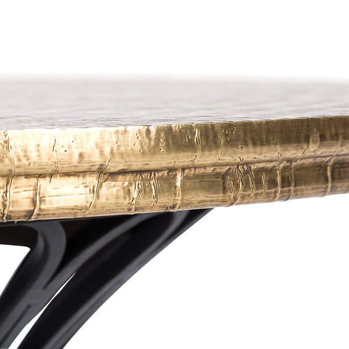 Arteriors Home presents the Draco End Table showcasing a solid wood tabletop, diamond-scored and then clad in antiqued brass sheet table top 6983