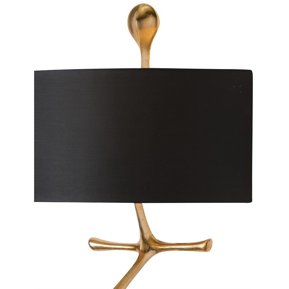 arteriors home close up gilbert wall sconce lighting gold leaf shade close up