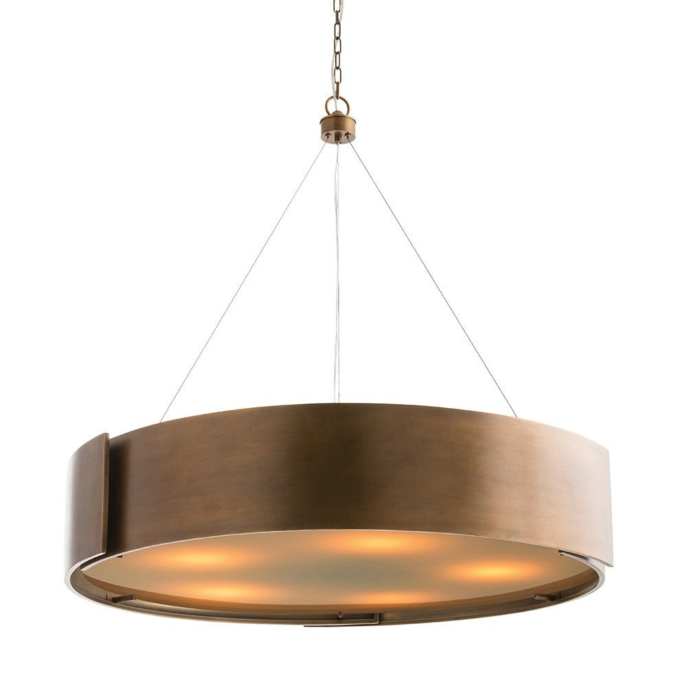 Arteriors home dante chandelier round antique brass modern light fixture 89702