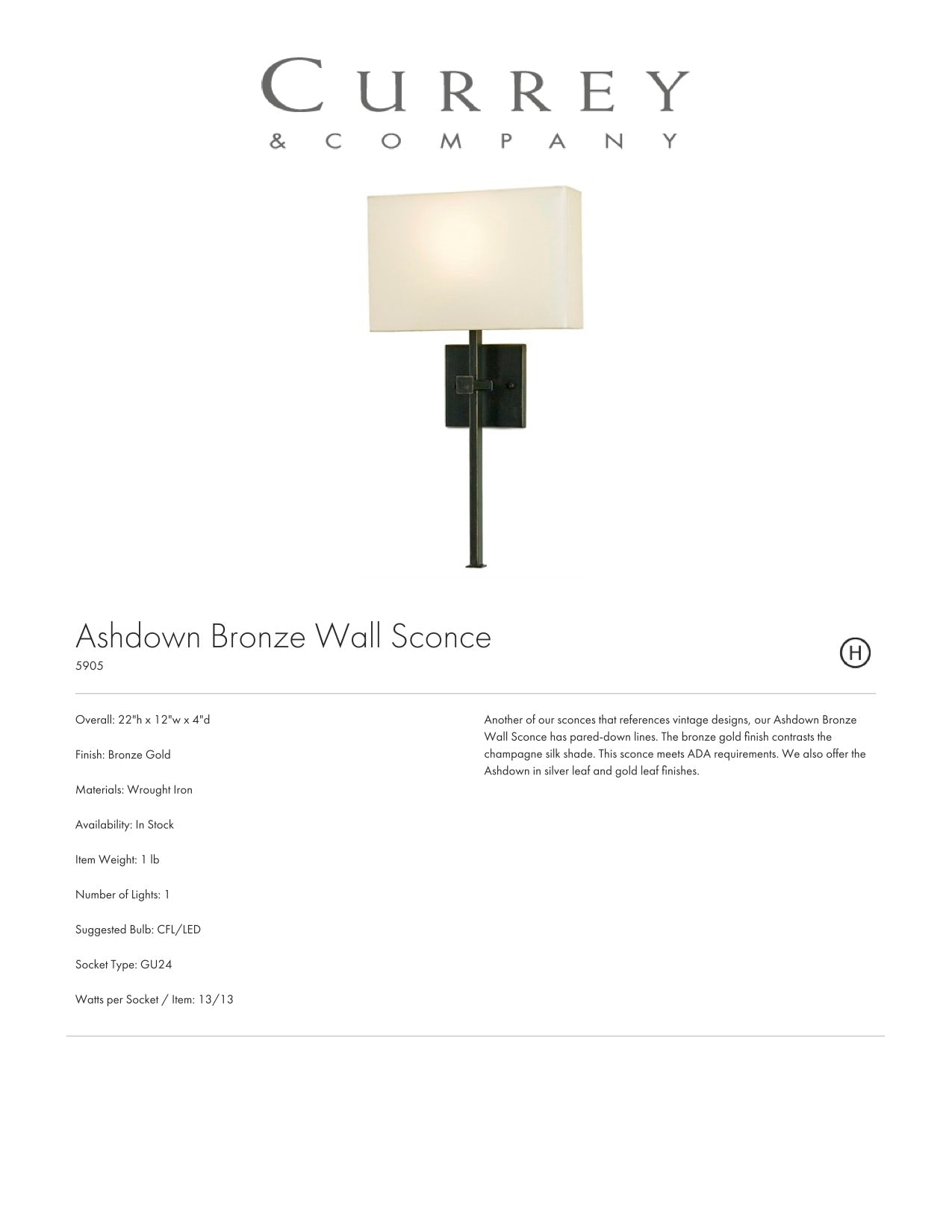 Currey & Company Ashdown Bronze Wall Sconce Tearsheet