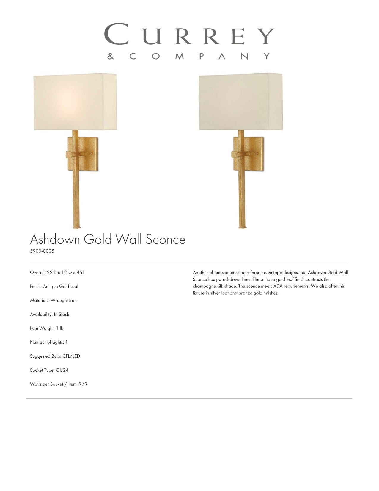 Currey & Company Ashdown Gold Wall Sconce Tearsheet