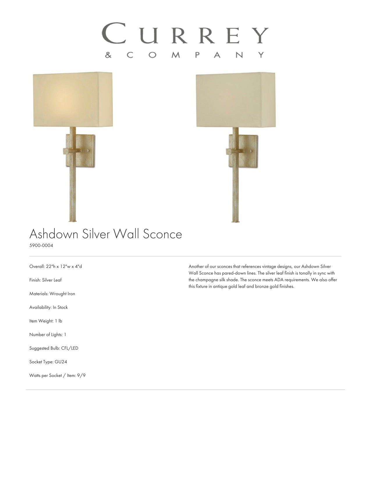 Currey & Company Ashdown Silver Wall Sconce Tearsheet