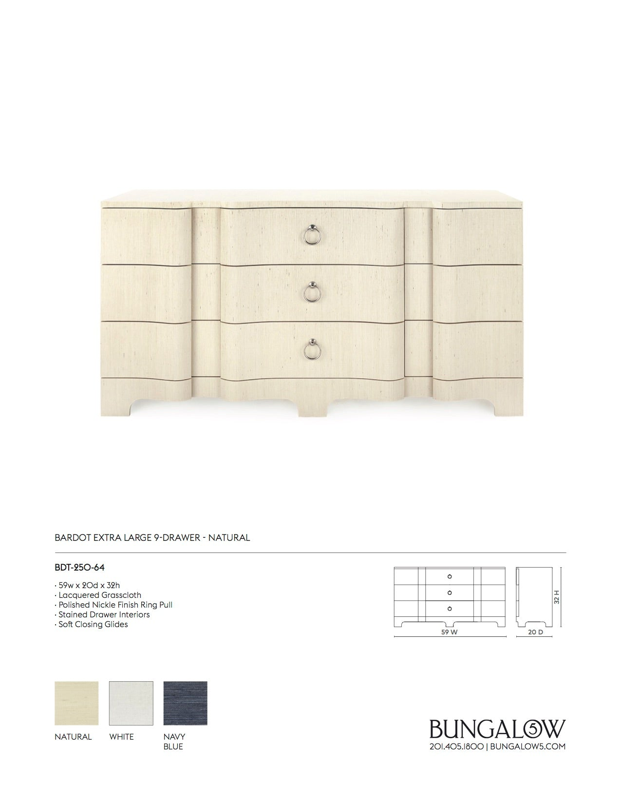 Bungalow 5 Bardot Large 3 Drawer Natural Tearsheet