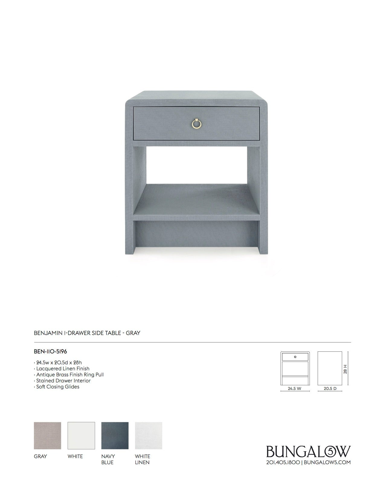 Bungalow 5 Benjamin 1 Drawer Side Table Gray Tearsheet