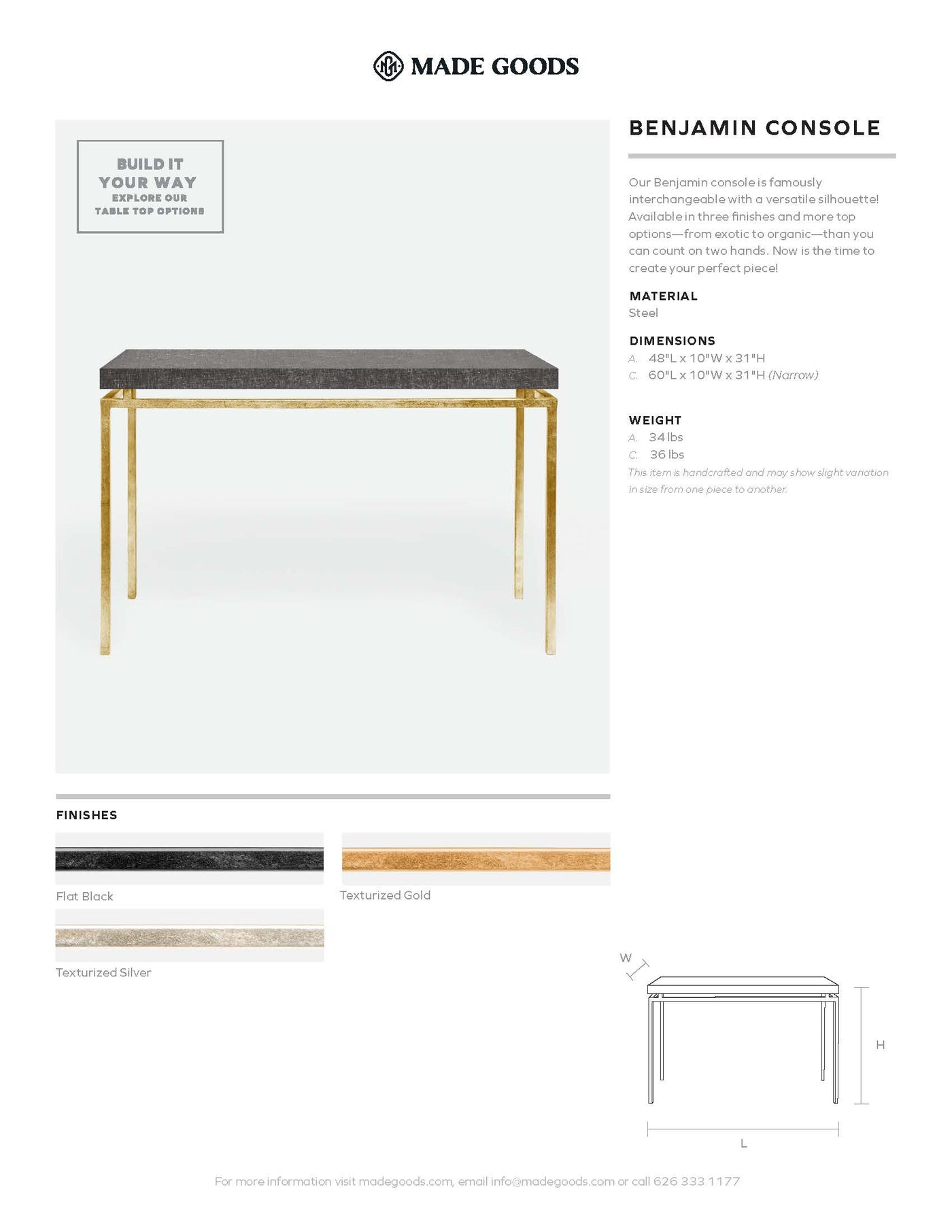 Made Goods Benjamin Console Table Tearsheet