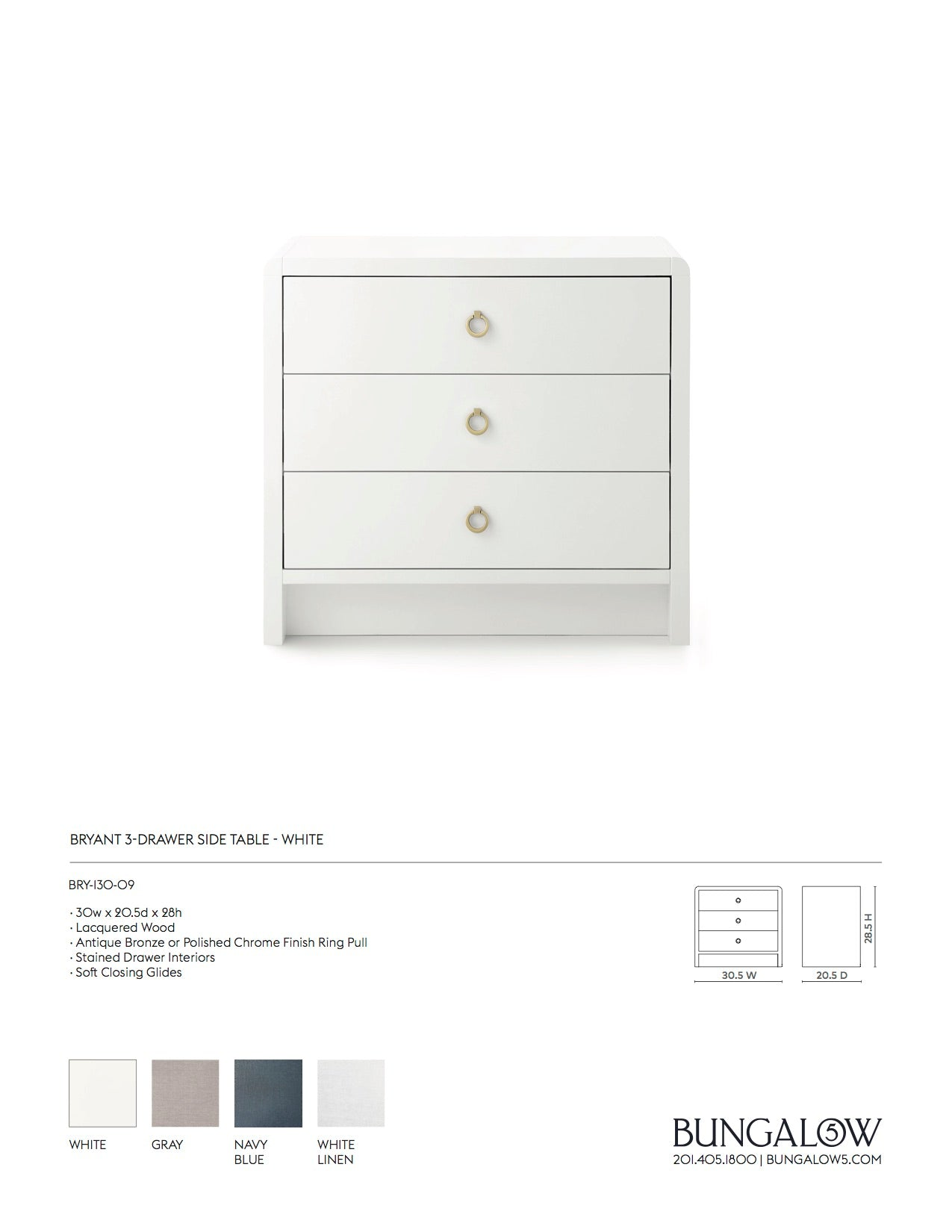 Bryant 3 Drawer Side Table White