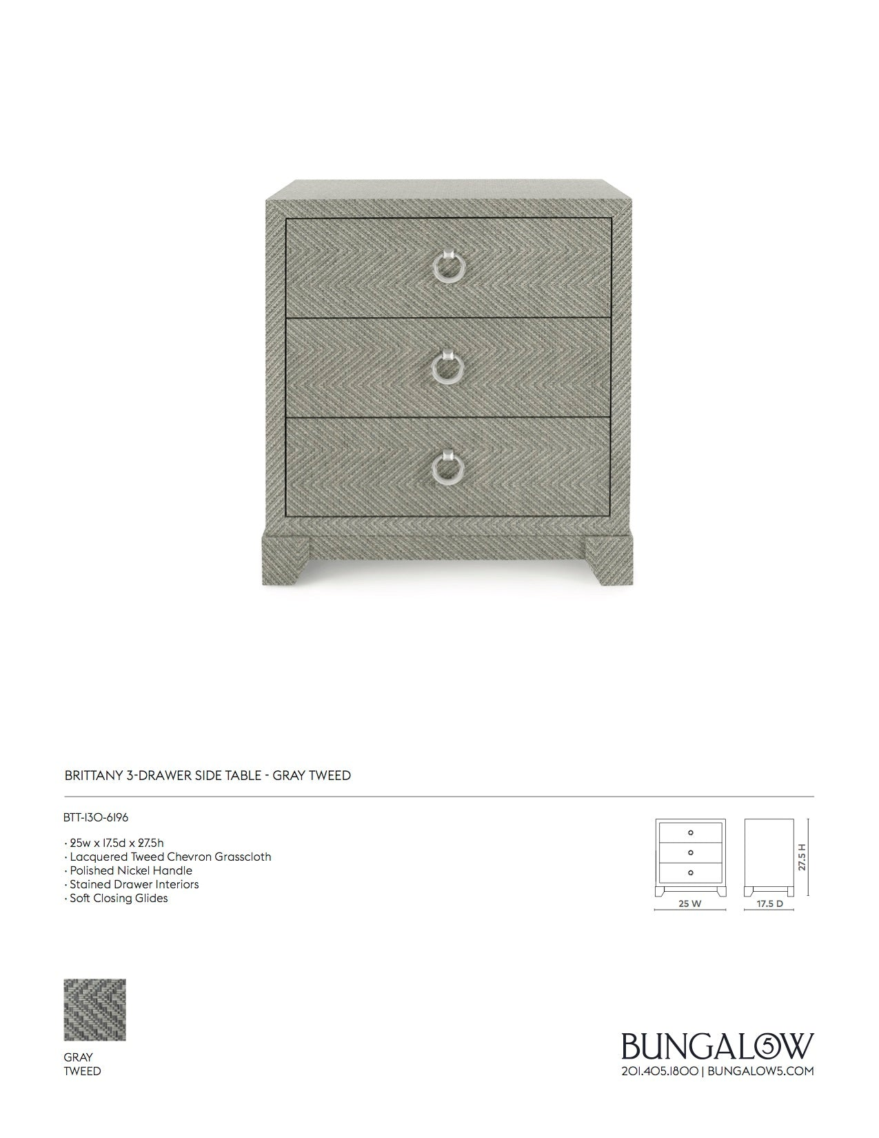 Brittany 3 Drawer Side Table Gray Tweed