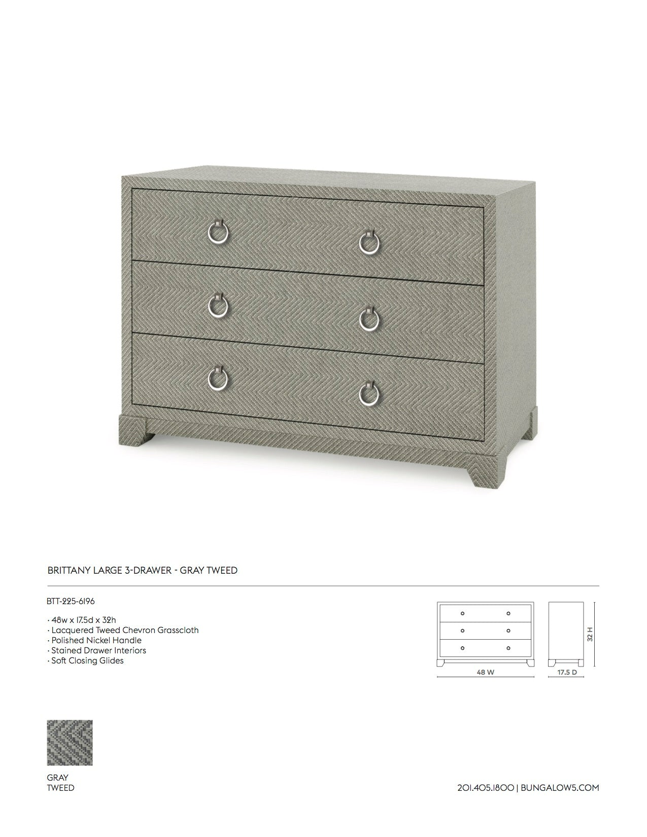 Bungalow 5 Brittany Large 3 Drawer Chest Gray Tweed Tearsheet
