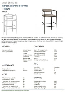 arteriors home barbana bar stool pewter texture tearsheet