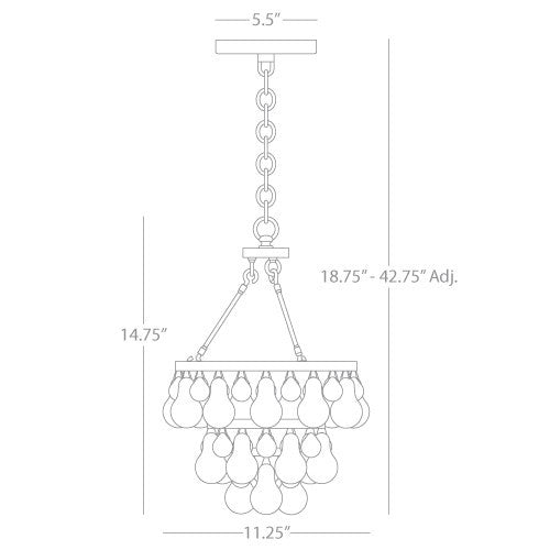 Robert Abbey Bling Small Chandelier Polished Nickel Dimensions