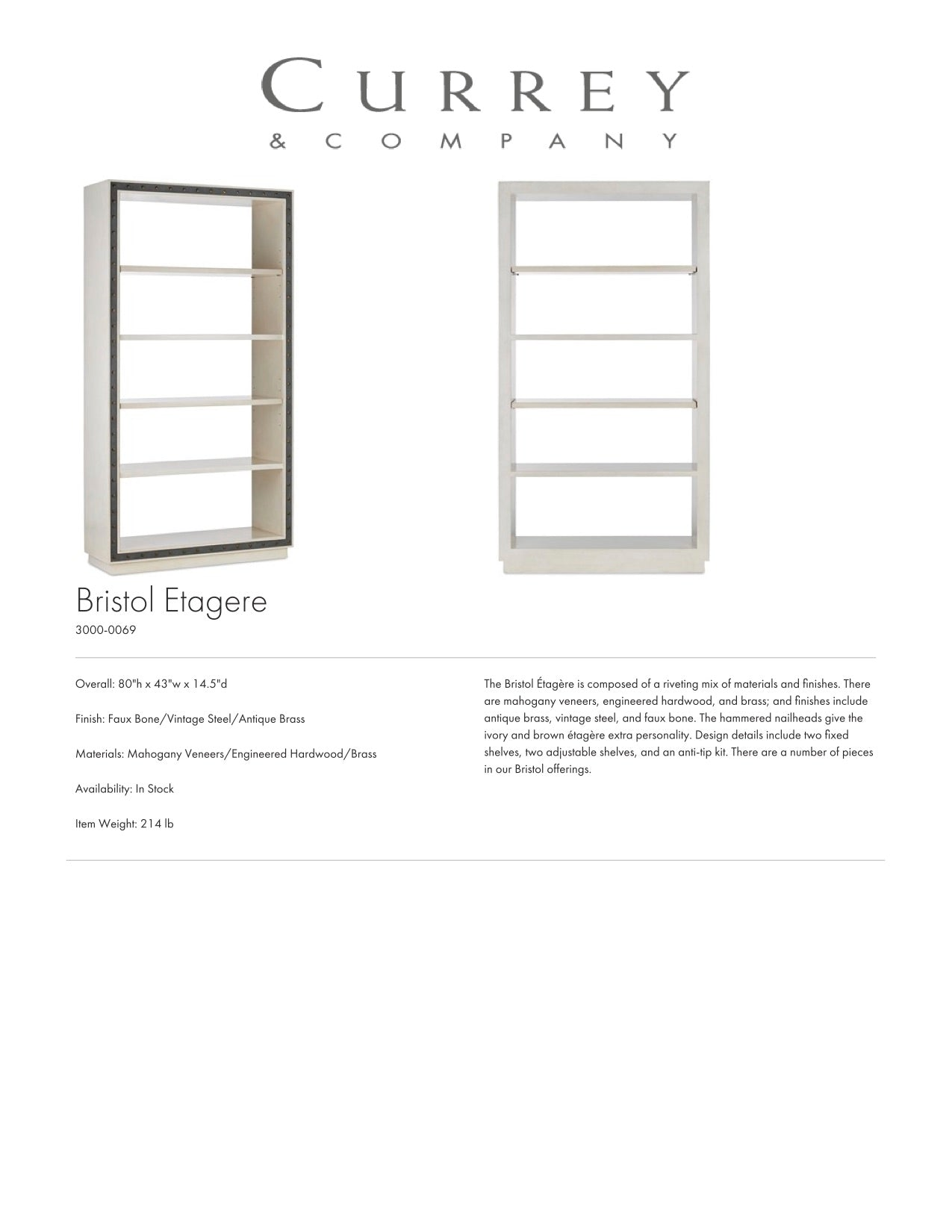 Currey & Company Bristol Etagere Tearsheet