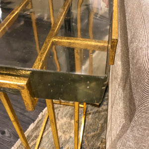 bungalow 5 prism side table gold detail metal glass