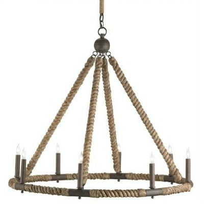 currey and company bowline chandelier round rope natural
