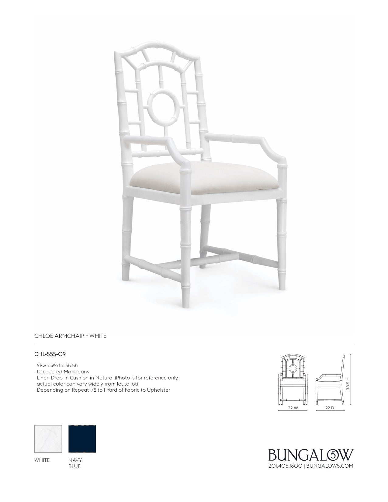 Bungalow 5 Chloe Armchair White Tearsheet
