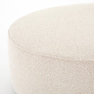 four hands sinclair round ottoman corner boucle fabric cream ivory