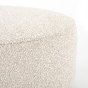 four hands Sinclair large round ottoman corner texture boucle