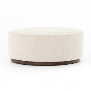 four hands Sinclair large round ottoman knoll natural fabric