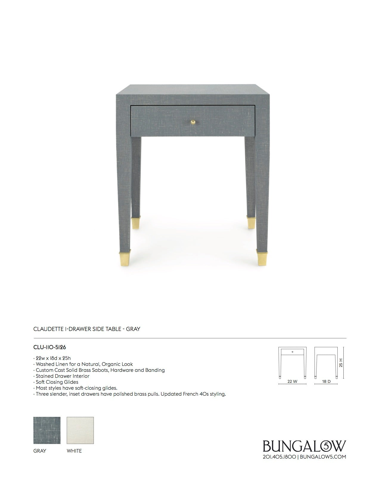 Bungalow 5 Claudette 1 Drawer Side Table Gray Tearsheet