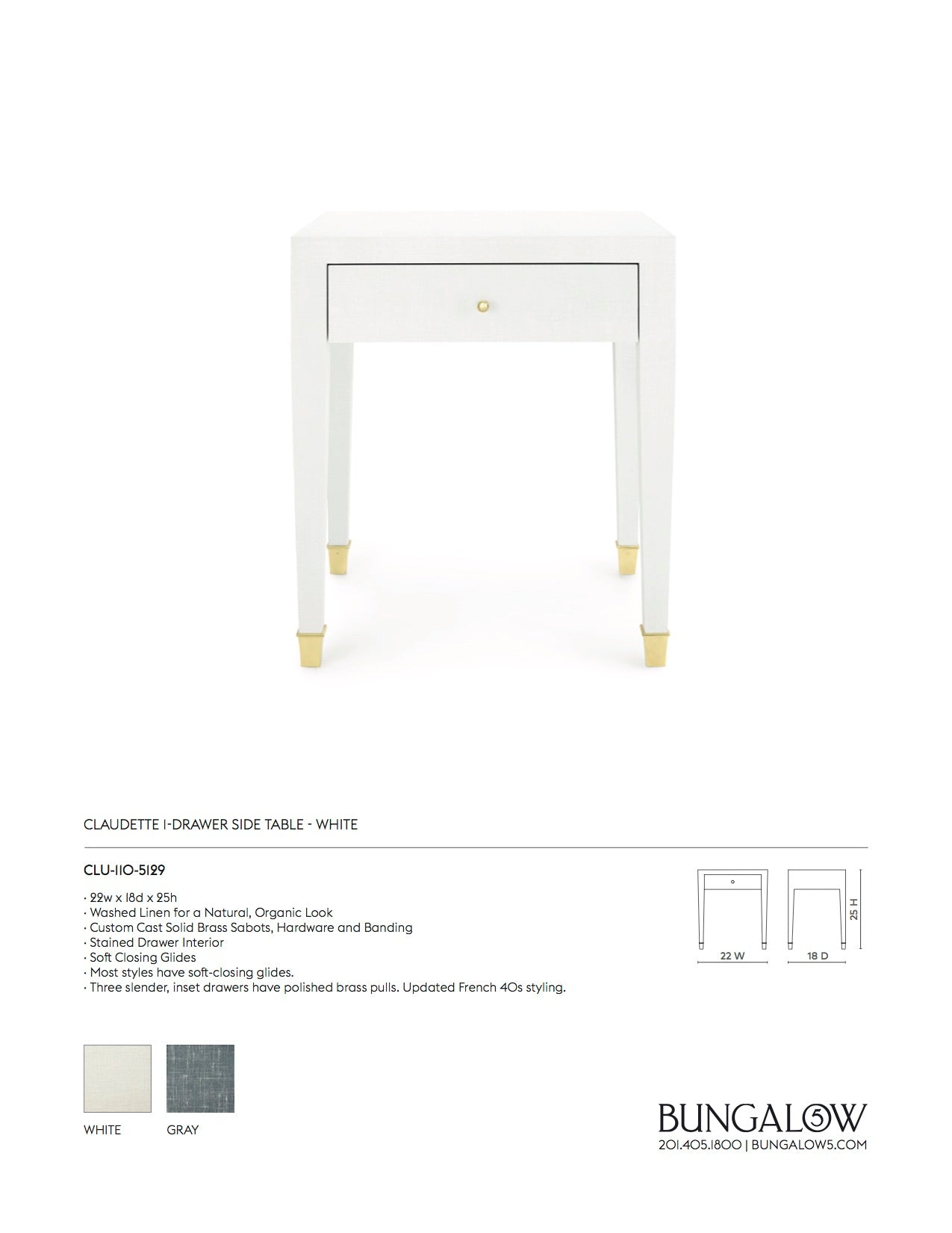 Bungalow 5 Claudette 1 Drawer Side Table White Tearsheet