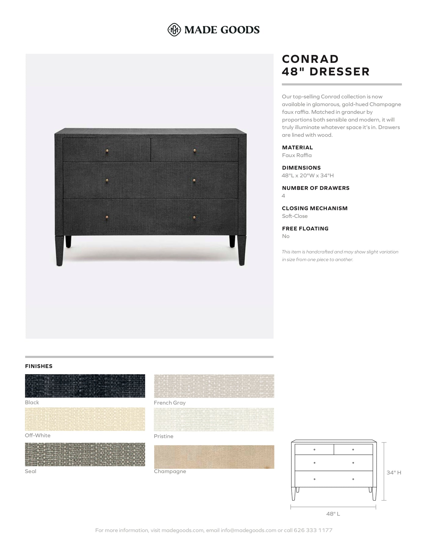 "made goods conrad 48"" dresser tearsheet"