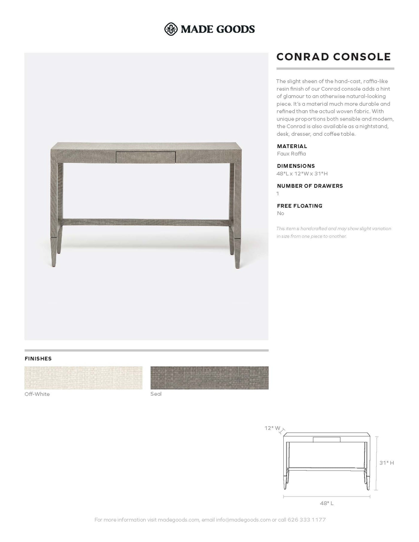 made goods conrad console table tearsheet