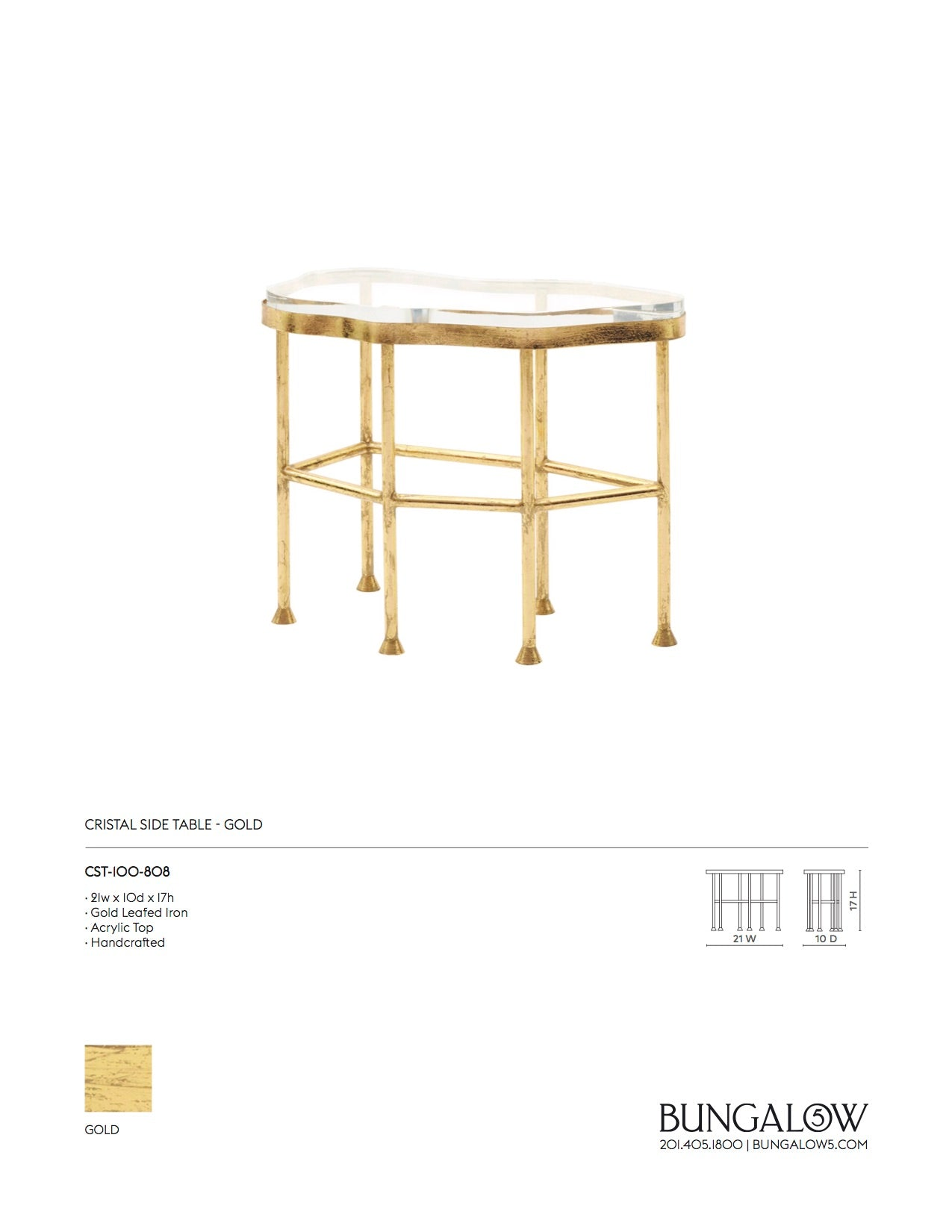 Bungalow 5 Cristal Side Table Gold Tearsheet