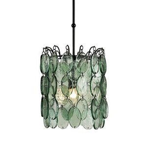 currey and  company airlie pendant glass disc green clear