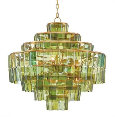 currey and company sommelier chandelier green glass