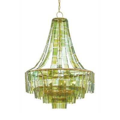 currey and company vintner chandelier green glass