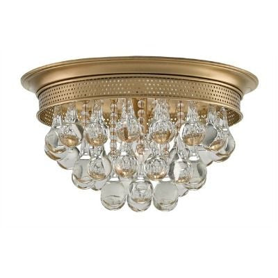 currey and company worthing flush mount brass crystal round