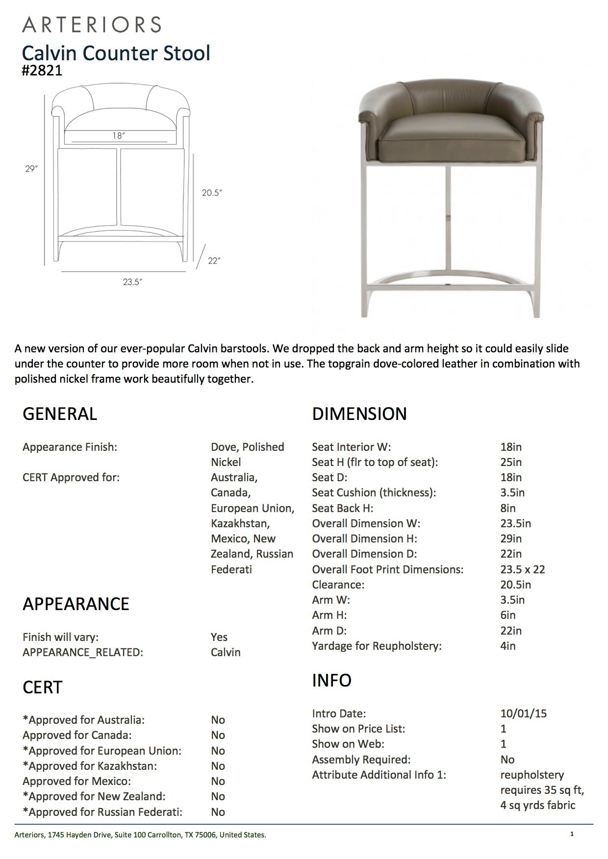 arteriors home calvin counter stool tearsheet