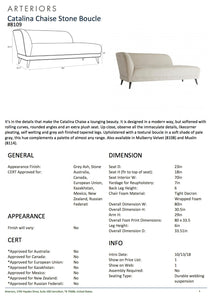 arteriors catalina chaise stone boucle tearsheet