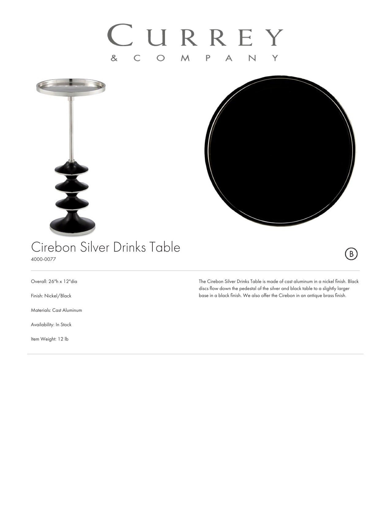 Currey and Company Cirebon Silver Drinks Table Tearsheet