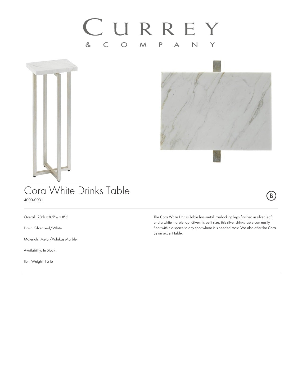 Currey & Company Cora White Drinks Table Tearsheet