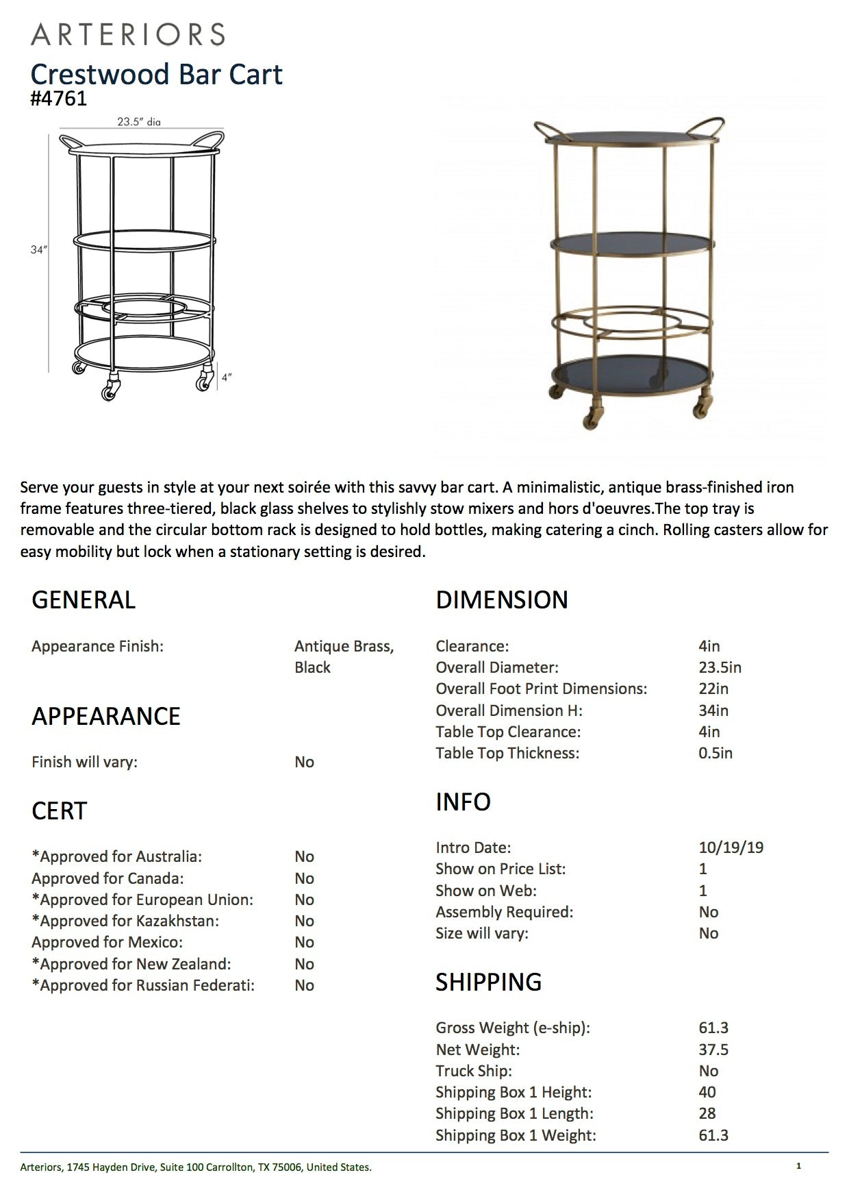 arteriors home crestwood bar cart tearsheet