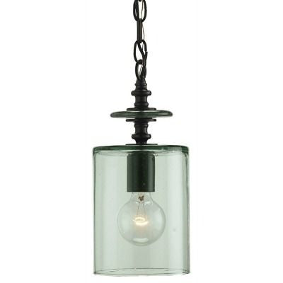 currey and company panorama pendant glass green metal black