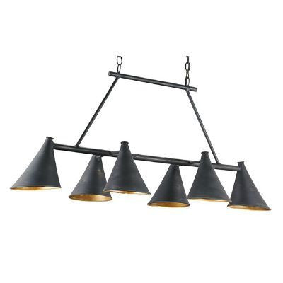 currey and company culpepper rectangle chandelier metal black