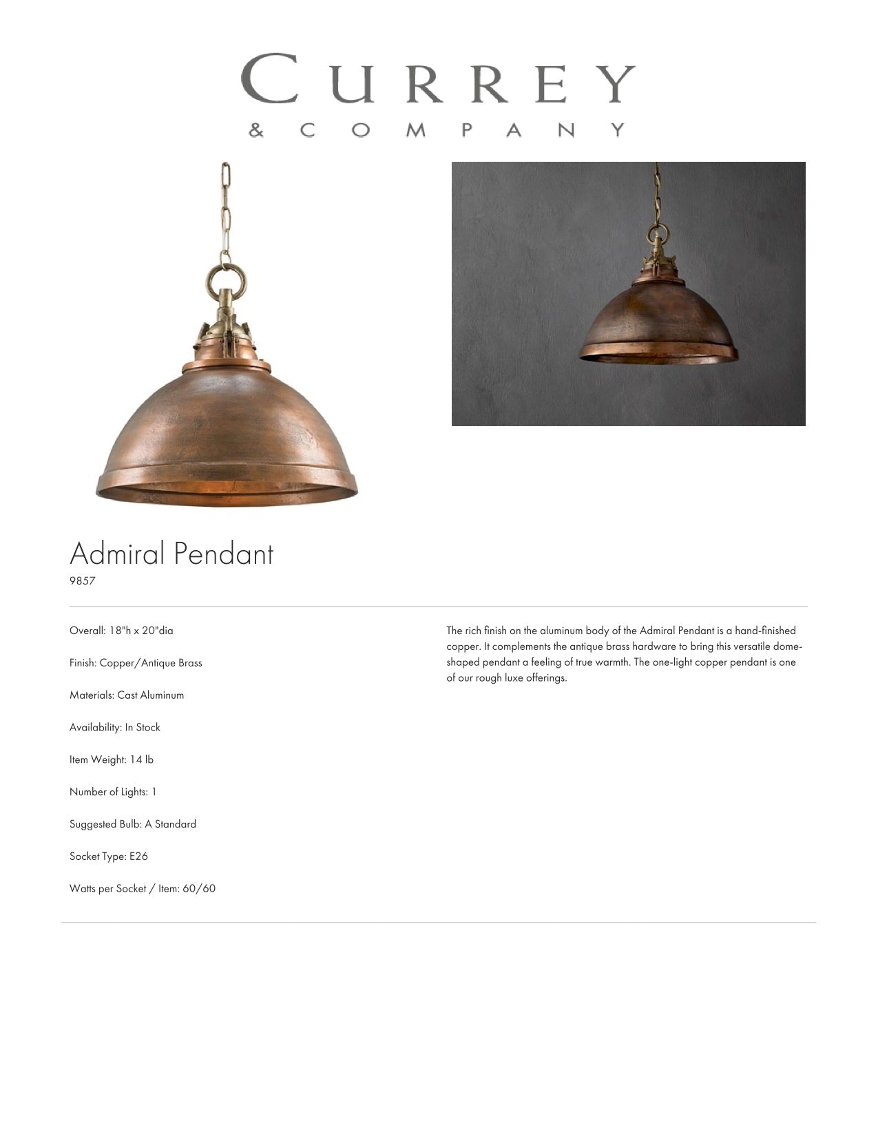 Currey & Company Admiral Pendant Tearsheet