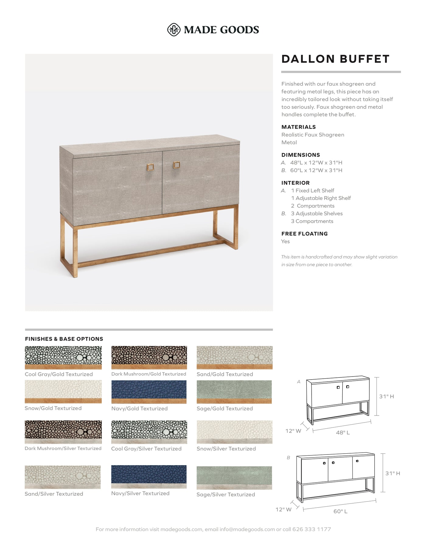 made goods dallon buffet  dresser console table dining room furniture Tear Sheet