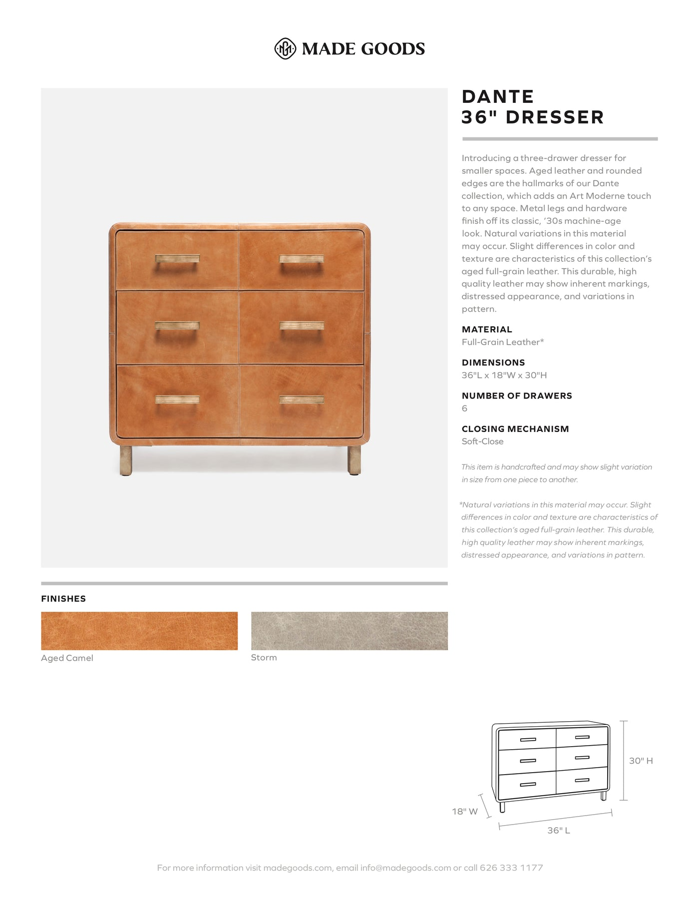 made goods dante 36 inch dresser full grain leather tearsheet