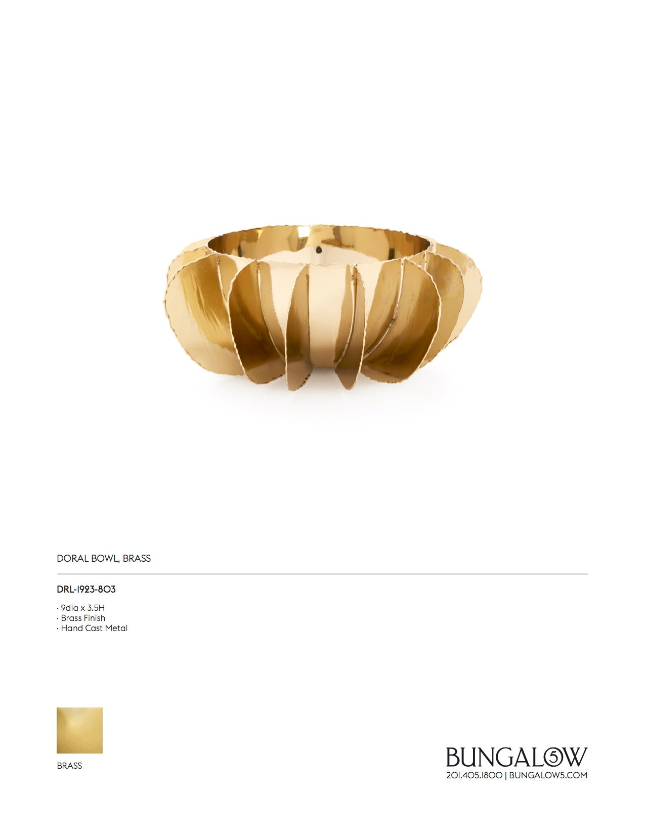 Bungalow 5 Doral Bowl Brass Tearsheet