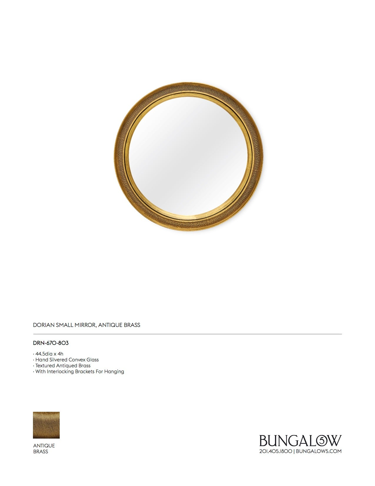 Dorian Mirror Antique Brass
