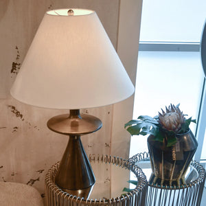 arteriors home putney table lamp antiqued aluminum black silver showroom