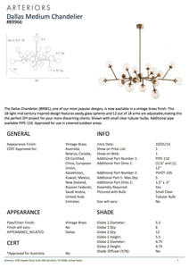 arteriors home dallas chandelier brass tearsheet