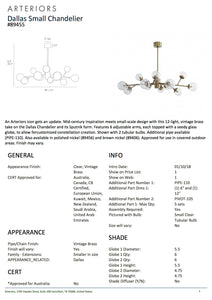 Arteriors Home Dallas Small Chandelier Tearsheet